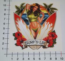 Pin up girl surfs up autocollant sticker retro Beach Hawaii surf bikini OEM pu063