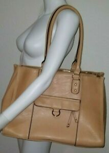 TAN FAUX LEATHER OFFICE COMPUTER SATCHEL BAG PURSE GOLD HARDWARE