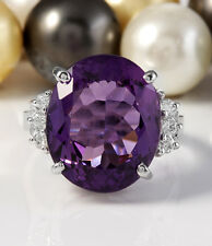 11.16CTW Natural Purple Amethyst & Diamonds in 14K Solid White Gold Women Ring