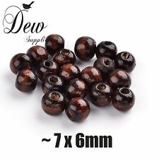 100 x Wood Beads Round, Dyed, Brown, about 7x6mm Wooden Bead Ball Spacer