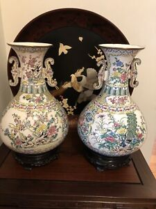 2*chinese Vinage Copper Painted Vases With Stand