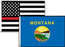 3x5 Usa Thin Red Line Montana State 2 Pack Flag Wholesale Set Combo 3'x5'