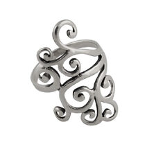 Fancy Swirl Ring - 925 Sterling Silver - Cocktail Right Hand Rings Filigree NEW
