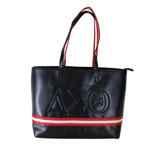 DELTA SIGMA THETA SORORITY BLACK TOTE BAG Embossed Purse Tote Shoulder Bag