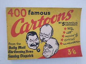 400 FAMOUS CARTOONS BY 5 FAMOUS CARTOONISTS - Neb Lee Moon Gittins Illingworth