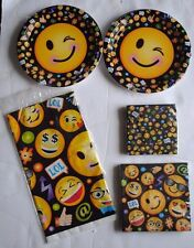 EMOJII Birthday Party Plates, Table Cloth, Napkins Brand New Sealed