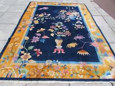 Antique Worn Hand Made Art Deco Chinese Blue Gold Wool Large Carpet 291x213cm