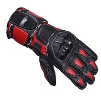 Red/Black Motorcycle Leather Cowhide Bikers Gloves Motorbike Winter Glove
