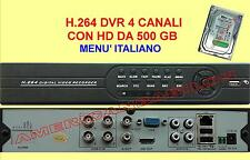 H.264 - DVR 4 CH - HDMI-VGA-VIDEO + HD 500 GB