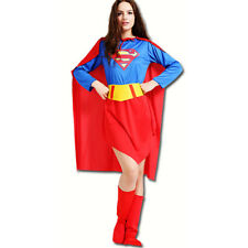 Adult Supergirl Ladies Fancy Dress Superhero Women Costume Outfit