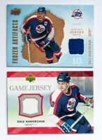 07-08 UPPER DECK DALE HAWERCHUK FROZEN ARTIFACTS GAME JERSEY CARD LOT OF 2 JETS