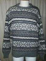 Mens 80s Vintage PETER ENGLAND Abstract Crewneck Sweater Pullover Tribal Large L