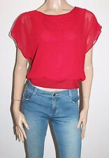 Unbranded Designer Red Chiffon Blouse Top Size XS BNWT #SL106
