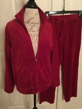 JANE ASHLEY Womens Velour Jogging Jacket ➕ Lounge Pants Large Red NWOT