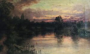 19thC Antique Landscape Pond Impressionist Tonalist Sunset Hudson River Barbizon