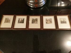 5 Antique Miniature Engraved Prints Signed by Artist