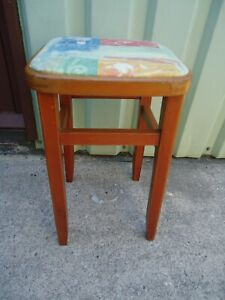 Vintage Wooden Kitchen Stool Padded Floral Fabric Top Very Good Condition
