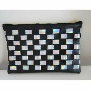 Womens Ladies Luna Holographic Checkered Clutch Clothing Fashion