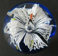Vintage Art Glass Paperweight with Controlled Bubble and Butterfly