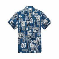 Aloha Hawaiian Cruise Luau Beach Shirt Palm Tree Blue White Hawaii Hangover