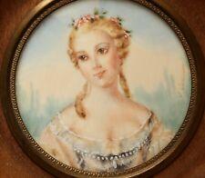 Miniaturmalerei auf Bein Miniature Lupenmalerei Damenportrait