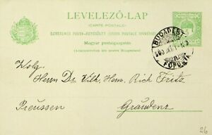 HUNGARY 1900 5f UPU POSTAL CARD FROM BUDAPEST TO GRAUDENZ (POLAND)