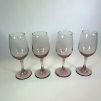 Libbey Rock Sharpe Premiere Plum Wine Glasses Vintage Goblets Purple Pink set 4