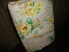 VINTAGE JCP PENNEY YELLOW CORAL GREEN CAFE FLORAL EYELET FULL FLAT SHEET 79 X 95