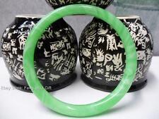 Chinese Oriental Natural Green Jade Round Bangle Bracelet Feng Shui Jewelry #eBw