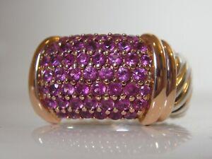$1650 DAVID YURMAN 18/K GOLD,SS WIDE METRO PAVE PINK SAPPHIRE RING.