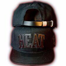 Original Mitchell & Ness Miami Heat Strapback Cap NBA EU104 Schwarz Lederstyle