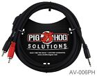 6ft PigHog Stereo Breakout Cable, 3.5mm Stereo Male to Dual RCA Male, AV-006PH