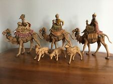 Vintage Italy Fontanini Wise Men/Kings on Camels and 3 Sheep
