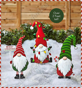 CHRISTMAS GNOME YARD STAKE Holiday Festive Figure Outdoor Lawn Decor - 3 CHOICES