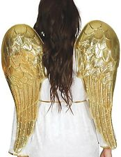 Ladies 80cm Gold Cupid Angel God Halloween Xmas Fancy Dress Costume Outfit Wings