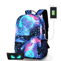 Night Luminous Backpack Anti-Theft Laptop Bag School Shoulder Bags With USB Port