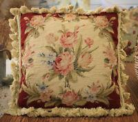 "14"" Shabby Chic Beautiful Victorian Roses Burgandy Handmade Needlepoint Pillow"
