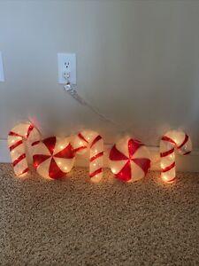 5 Piece Christmas Candy Cane Lights Yard Indoor Outdoor Decor Plastic Mold Retro
