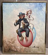 W Moninet Original Signed W. Moninet Framed Oil Canvas Clown Painting Balloons
