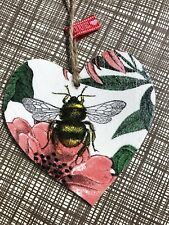 SHABBY CHIC Decoupage Wooden Hanging Heart 8cm Bumble Bee Gift Home Tag Handm