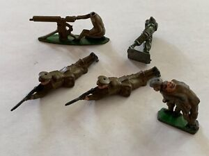Vintage - Johillco Lead Soldiers - Five Piece Assortment - Note: Two Damaged