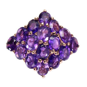 Unheated Oval Amethyst 14K Rose Gold Plate 925 Sterling Silver Ring Size 8