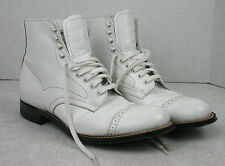 Stacy Adams Madison White Ankle Boot Cap Toe Lace Up Leather 00015_100 Size 7D