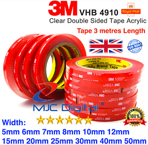 3M VHB DOUBLE SIDED TAPE ROLL VERY STRONG SELF ADHESIVE STICKY GREY CLEAR BLACK