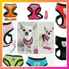 SMALL Chihuahua Puppy Dog Harness Coat + FREE MATCHING LEASH PINK BLACK BLUE RED