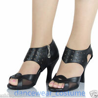 Ladies Black Leather Ballroom Latin Tango Modern Salsa Dance Shoes Heeled US 5-9
