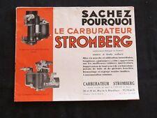 Brochure Le Carburateur Stromberg type U et Inversé DAM publicité circa 1920