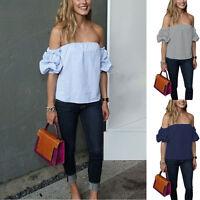Women Off The Shoulder Long Chiffon Blouse Long Sleeve Shirt Casual Top S M L XL