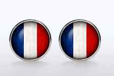 Gift Bag + France cuff links Silver Tone Cufflinks Flag Round French Flags UK