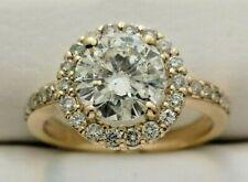 14k Yellow Gold 2.46ctw Round Diamond Halo Wedding Engagement Ring Size 7 GIA
